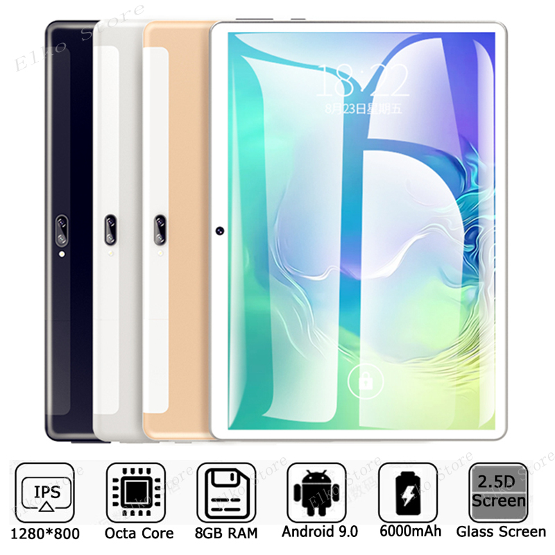 New Original 10 Inch Tablet Pc Octa Core 4G Phone Call Google Market GPS WiFi FM Bluetooth 10.1 Tablets 8G+128G Android 9.0 Tab