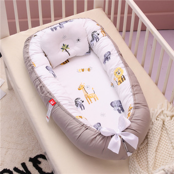 Babynest Newborn Baby Nest Bed Portable Crib Travel Bed Tissu Coton Baby Nestje Baby Lounge Bassinet Bumper with Pillow Cushion