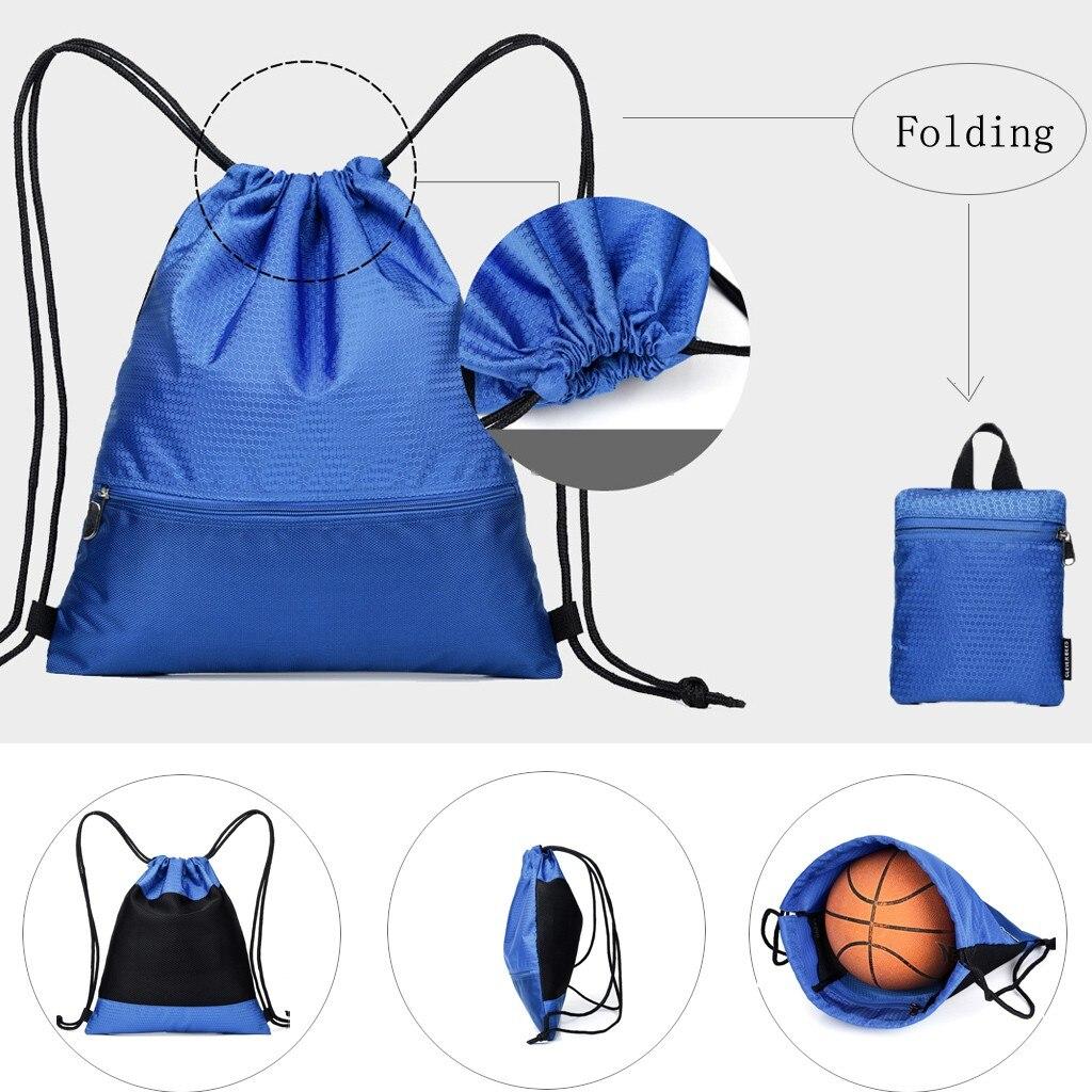 Unisex Waterproof Shoulder Bags Foldable Backpack Large Capacity Package Drawstring Bag Worek Plecak Sznurek Mochila Feminina