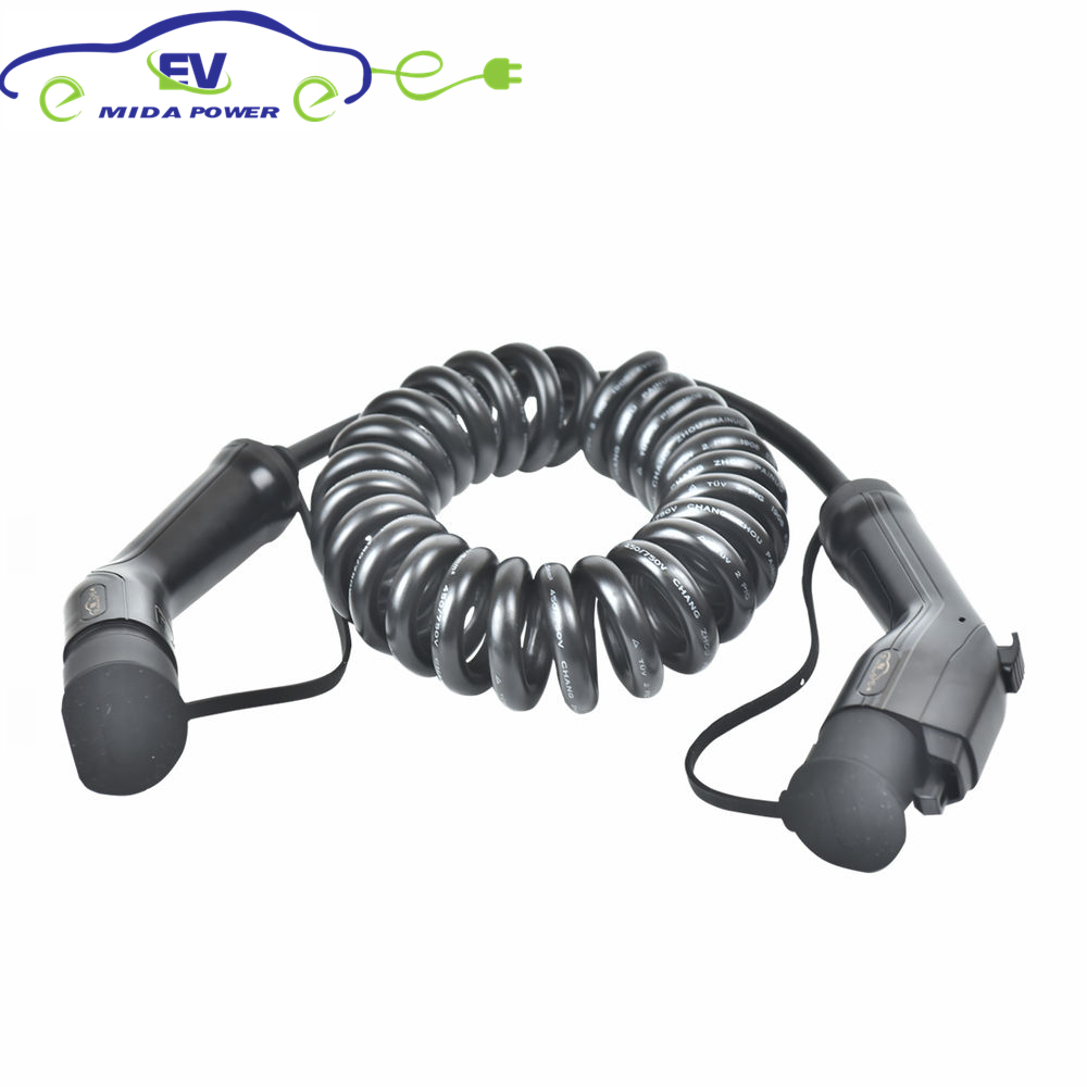 5Meter 32A 3x6+2x0.5mm Type 1 To Type 2 EV Coiled Cable SAE J1772 Connector To IEC 62196-2 EV Plug EV Spring Cable
