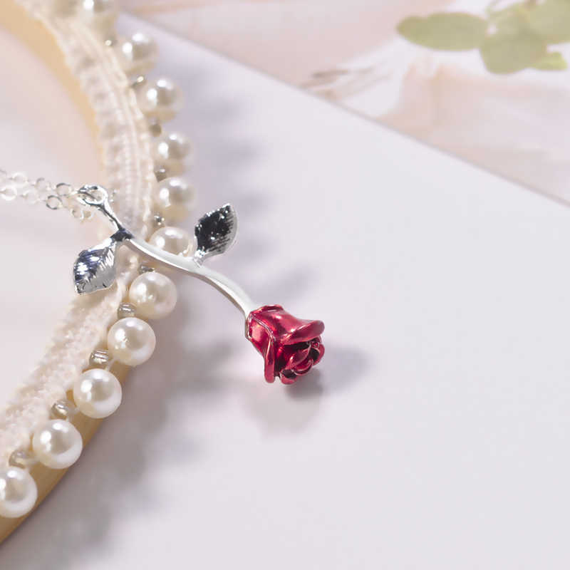 2020 moda rosa vermelha flor pingente necklac menina de ouro planta colares colar aniversário amante charme festa jóias presente