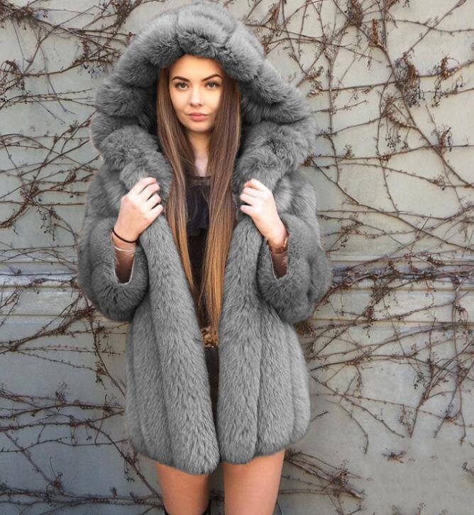 Nouveau à capuche à manches longues femmes manteau fausse fourrure épaissir manteau grande taille fourrure à capuche Parka longue épaisse en peluche manteau vêtement d'extérieur pour femmes - 3