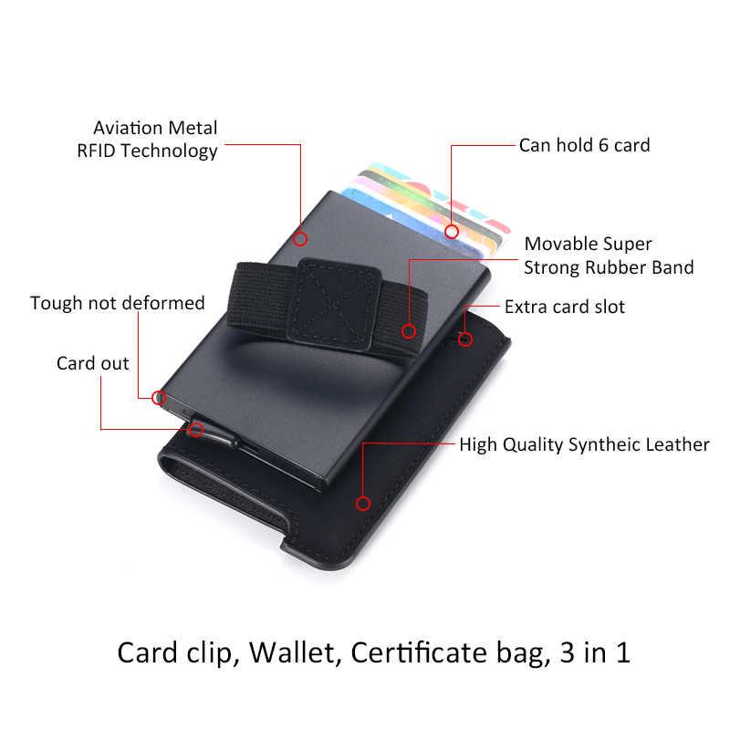 DIENQI yeni RFID engelleme erkek kredi kart tutucu Minimalist cüzdan geçiş Metal deri kart çantası erkek ince bankası kart sahibi çanta