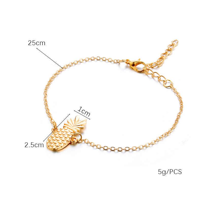 Новый браслет с подвеской ананаса для женщин Золотой/Серебряный цвет Богемия ювелирные изделия простые браслеты женские