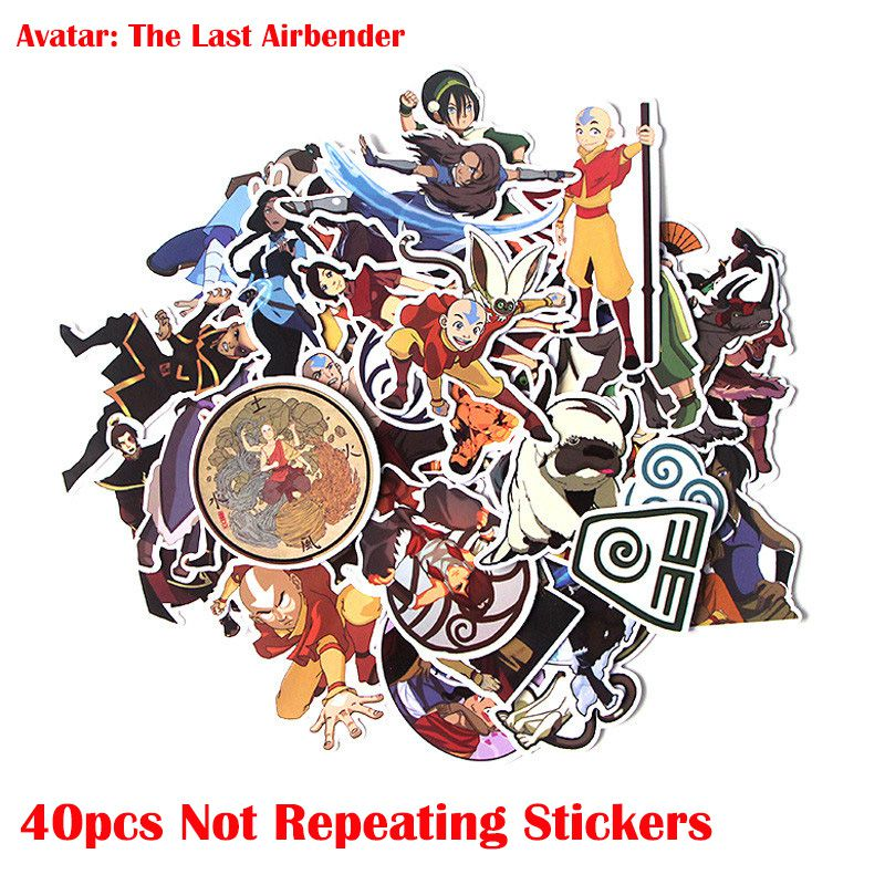 40pcs/set Avatar The Last Airbender Stickers Anime Cartoon Sticker  funny DIY Luggage Laptop Skateboard Motorcycle Bike Sticker