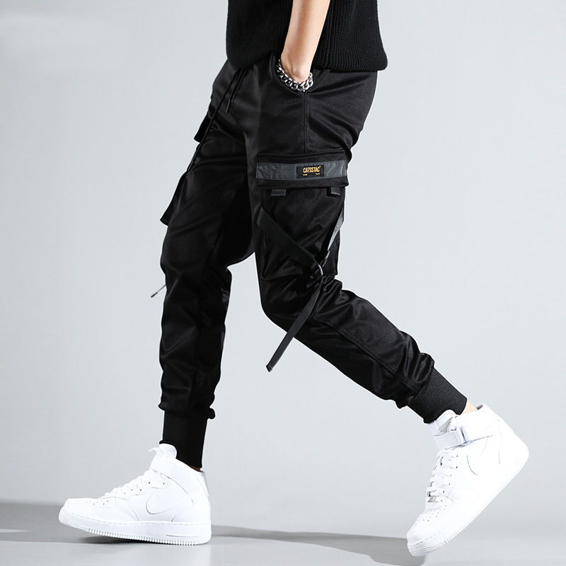 US Size Black Joggers Men Streetwear Cargo Pencil Pants Harem Joggers Casual Trousers Elastic Waist Multi-pocket Ribbon DG473