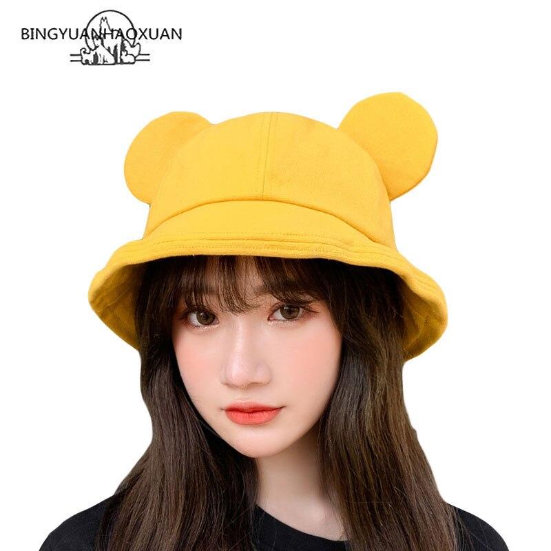 Bucket Hats Women Cotton Cute Ears Solid Wide Brim Flat Fisherman Womens Hat Korean Style All-match Lovely Trendy Casual Sun Hat