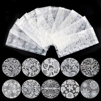 Boda nupcial encaje blanco papel estrellado Nail Art Transfer pegatina de papel de aluminio 10 hojas mixtas 4X20cm encanto de uñas