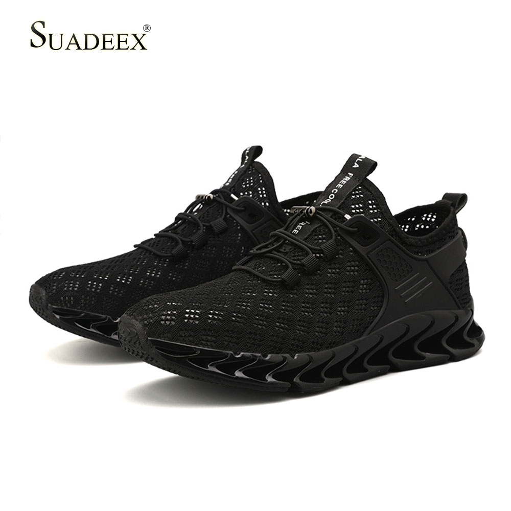 SUADEEX Men Casual Shoes Breathable Mesh Summer Sports Sneakers Male Tenis Running Walking Lightweight Black Red White Shoes in Men 39 s Casual Shoes from Shoes