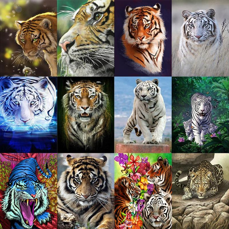 DIY Embroidery Diamond Painting Set w// Tools for Room House Decoration Tiger