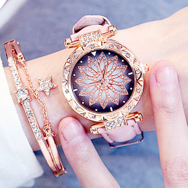 2020 Casual Ladies Watches Fashion Rotating Dial Diamond Starry Sky Watches Leather Band Quartz Watches Gifts Relogio Feminino