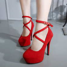 Sexy Big Pumps Women Red Thick Bottom Cross tie 14 cm High Heels Office Ladies Shoes Soft Flock Bridal Single Footwear Size 42