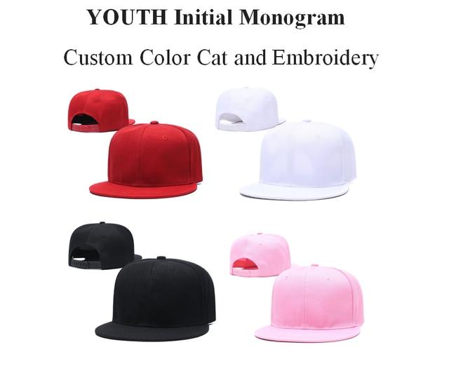 Casquette de Baseball monogramme pour jeunes   Casquette de baseball couleur personnalisée pour enfants, casquette avec broderie hip hop livraison directe,