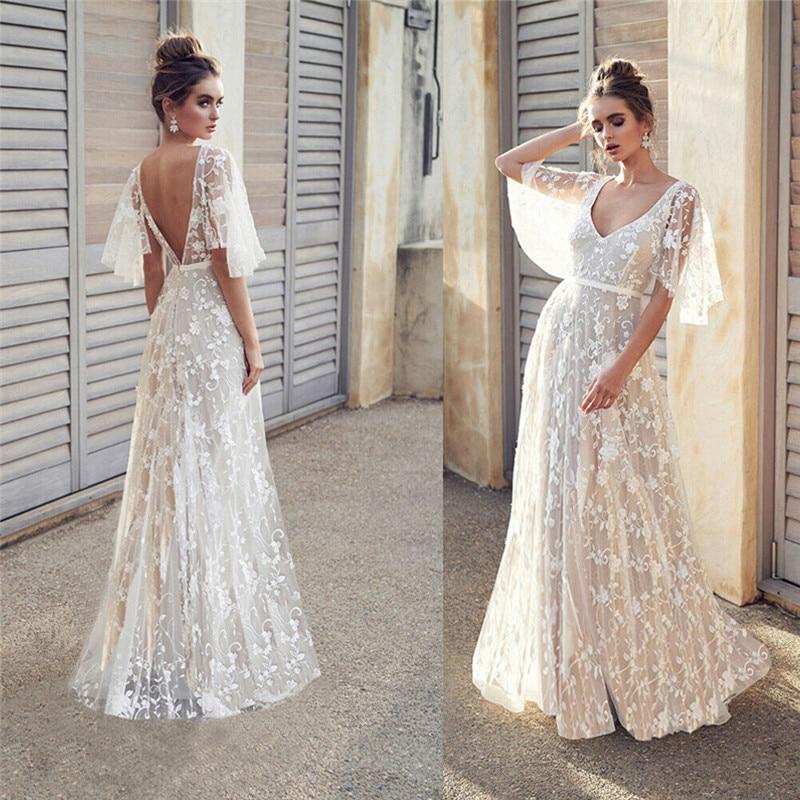 Femmes robe Sexy à manches longues évasées col en V blanc fête creux Boho dentelle robe Maxi vacances Chic été robes féminines