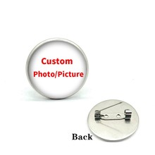 Feito sob encomenda feito à mão foto/imagem emblema broche de vidro cabochão cúpula diy personalizado broches pinos prata chapeado acessórios