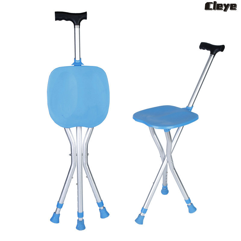 Cleye Aluminium Alloy Folding Crutch Stool And Adjust Height Multi-functional Wand Chair Manufacturers Direct Selling