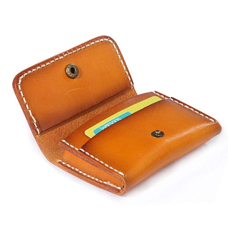 Hand Stitch Vegetable Tanned Leather Card Holder Men Vintage Credit Id Card Holder Carte Porte Handmade