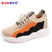 Koznoy Sneakers Women Autumn Ins Socks Shoes Dropshipping Air Permeable Mesh Thick Bottom Fashion Increasing Daddy