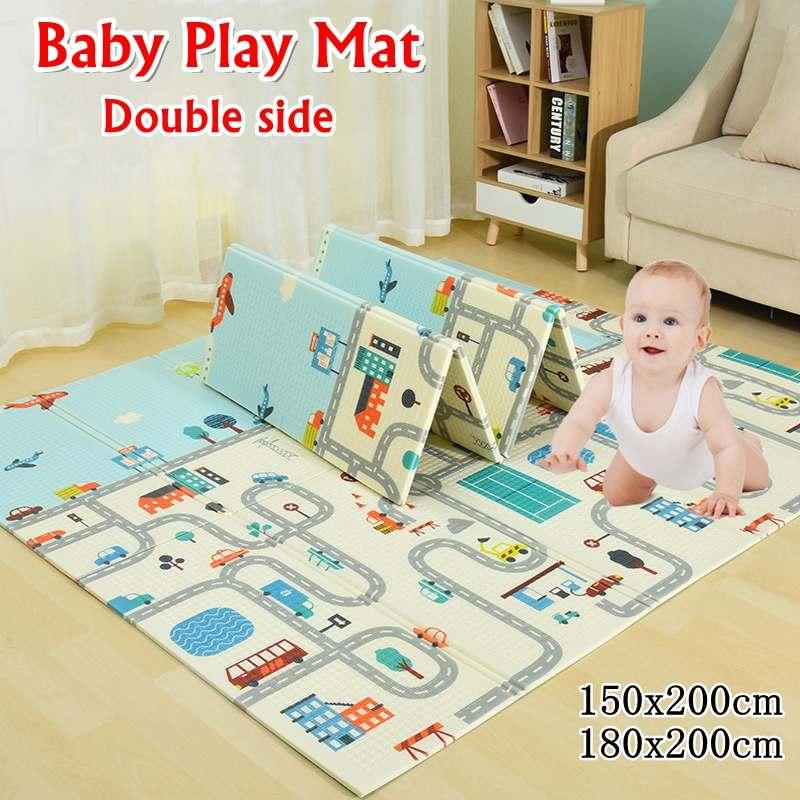 Складной коврик для детей, 200*180*1 см, 200*150*1 см, XPE, коврик для ползания, водонепроницаемый, нескользящий, игровой коврик-головоломка