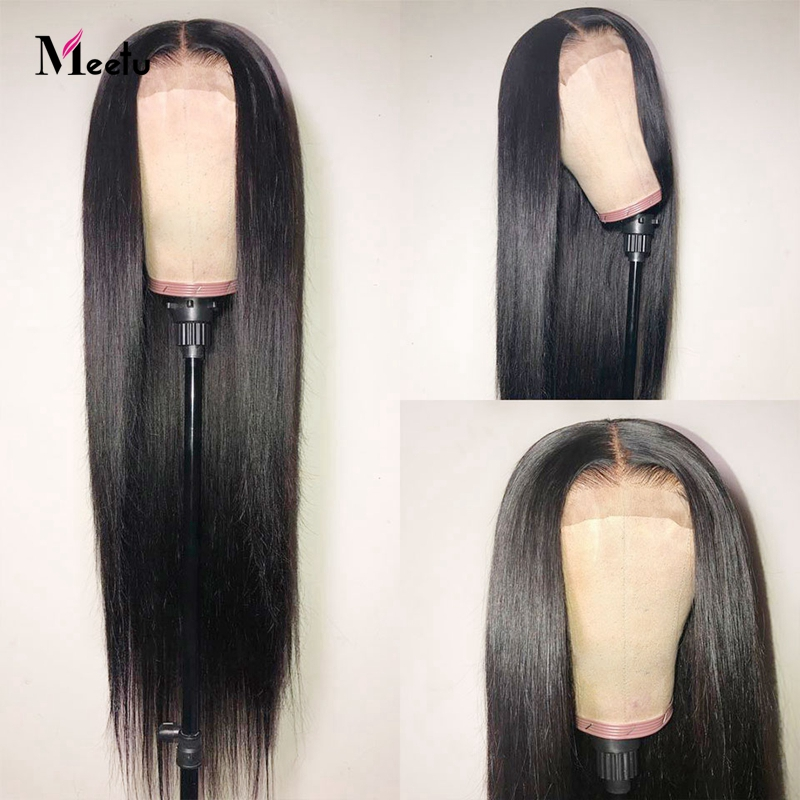 Meetu 4x4 Lace Closure Wig Indian Human Hair Wigs Pre-Plucked With Baby Hair Remy Straight Lace Front Human Hair Wigs For Women