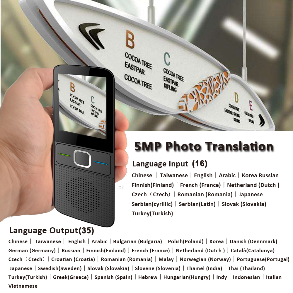CTVMAN 137 Pocket Language Translator for 137 Online Language and 14 Offline Language with Smart Photo Voice and Text Translation in Real Time 2