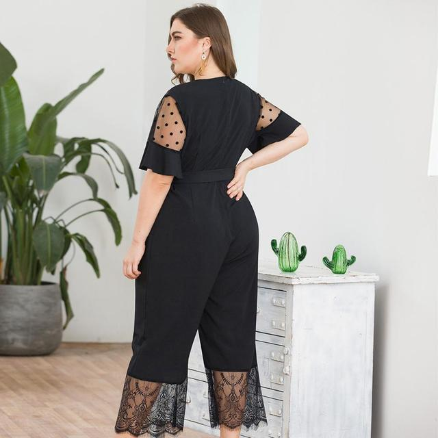 2019 Fashion Casual Solid Jumpsuit Women's Plus Size Short-Sleeved Mesh Stitching Lace Wide Leg One-piece Pants Mameluco Mujer Y 2