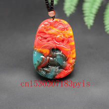 Chinese natural color jade fly dragon pendant necklace hand