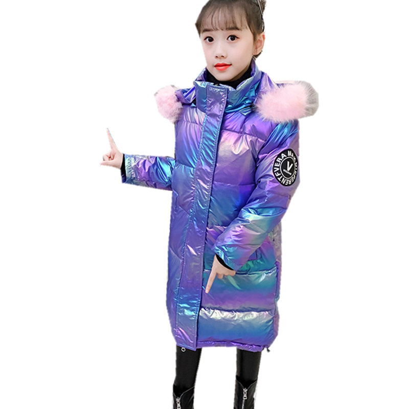 Long Style Baby Girl Winter Jacket Bright Coat Outerwear With Hoodies Korean Kids Teenager Clothes Outfits Waterproof Windproof