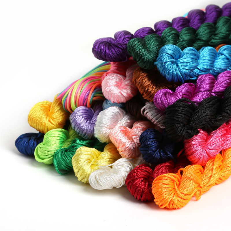 24m/Roll Dia1mm Colorful Polyester Braided Thread Cord Jewelry Making Chinese Knot Macrame Rattail Cord For Bracelet Accessories