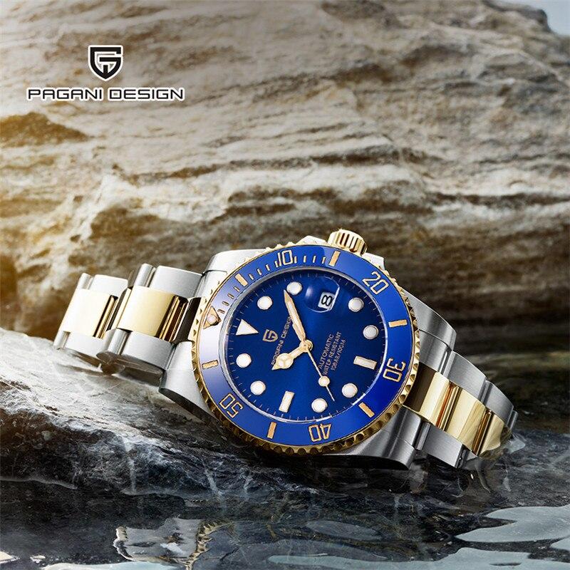 PAGANI DESIGN Brand NH35 Automatic Mechanical Men Watch Sports 100M Waterproof Sport Male Sapphire Wrist Watch Relogio Masculino