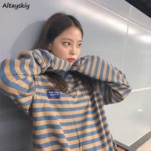 Camisetas de manga larga de las mujeres Retro rayas coreano clásico de la Universidad primavera otoño Tops para adolescentes camiseta-encuentro diario encantador niñas