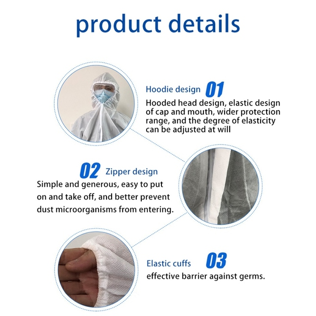 PPE Suit Disposable Isolation Gowns Non Woven Dustproof Onesie Protective Clothing Disposable  Garment Protective Clothing 4