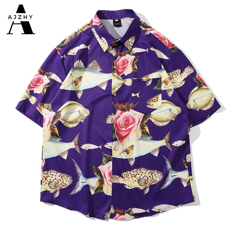 Hawaiian Shirts Streetwear Hip Hop Harajuku Casual Tropical Beach Fish Rose Print Short Sleeve Shirt Men Summer Fashion Top Male