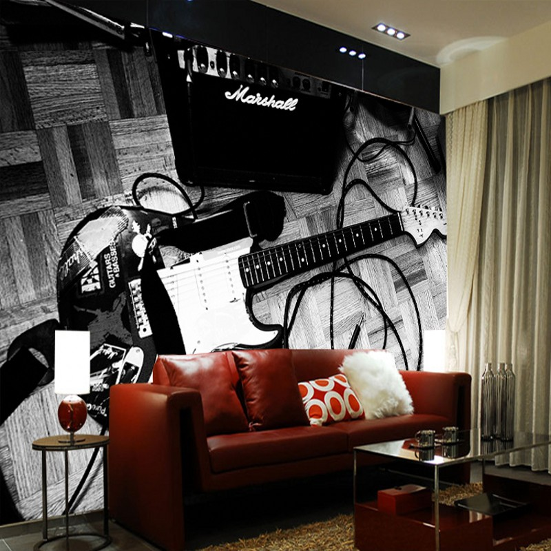 Dropship 3D Photo Wallpaper 3D Stereo Wallpaper Nostalgic Personality Vintage Guitar Wallpaper Mural Wall Papers Home Decor
