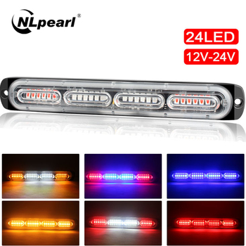 NLpearl Slim 12V 24V 24LED Strobe Light Police Car Moto Trucks LED Side Marker Lamps White Amber Red Blue Flashing Warning Light 16 led red blue car police strobe flash light dash emergency 18 flashing light warning lamp white amber red blue yellow