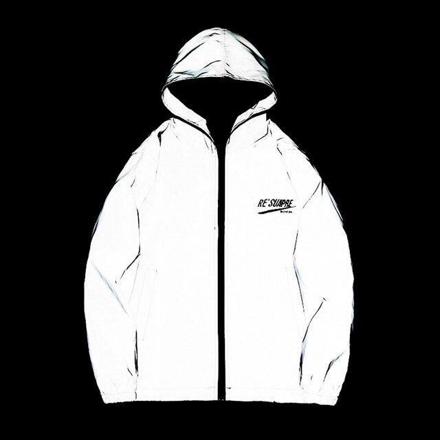 KANCOOLD New full reflective jacket men women harajuku windbreaker jackets hooded hip-hop streetwear night shiny zipper coats