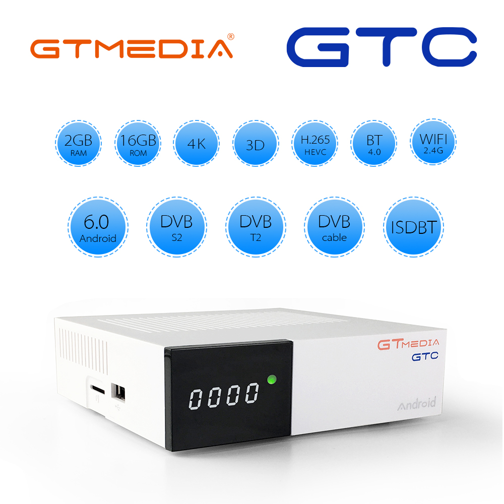 GTmedia GTC Android 6.0 Satellite Receiver DVB-S2/T2/Cable/ISDBT Amlogic S905D 2GB RAM 16GB ROM Support Iptv M3u Mag Set Top Box