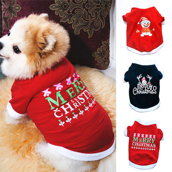 Christmas Dog Clothes Winter Autumn Warm Sweater For Small Medium Large Dog Cute Print Santa Claus Puppy Pet Costume Clothing image