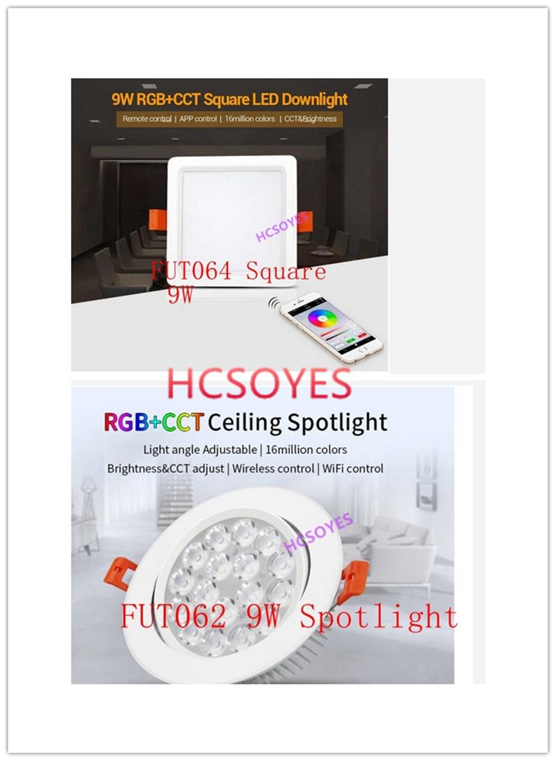 milight FUT064 9W/FUT062 9W RGB+CCT LED Downlight LED Ceiling Spotlight light Angle adjustable 16 million remote APP control