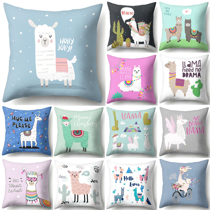 1Pcs Lovely Cartoon Animal Alpaca Cushion Cover Polyester Decorative Pillows Home Decor Sofa Car Waist Pillowcase 45x45cm 40853