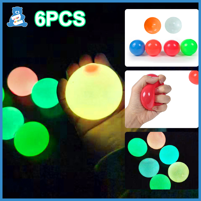 65 мм антистресс липкий шар сжимаемые светящиеся глобусы Непоседа игрушки потолочный шар яма светящиеся липкие настенные шары сенсорные иг...