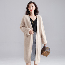 Knitted loose coat female new autumn and winter long lazy style outside sweater cardigan coat F9638 2019 autumn new twist pocket sweater coat female long loose loose knit cardigan