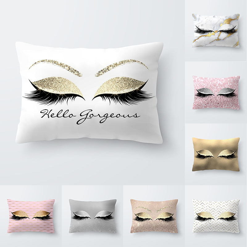 Eye Lash Fashion Decorative Throw Pillows Cushion Cover 30x50 Polyester Pillowcase Cushions Home Decor Sofa Living Room 10476