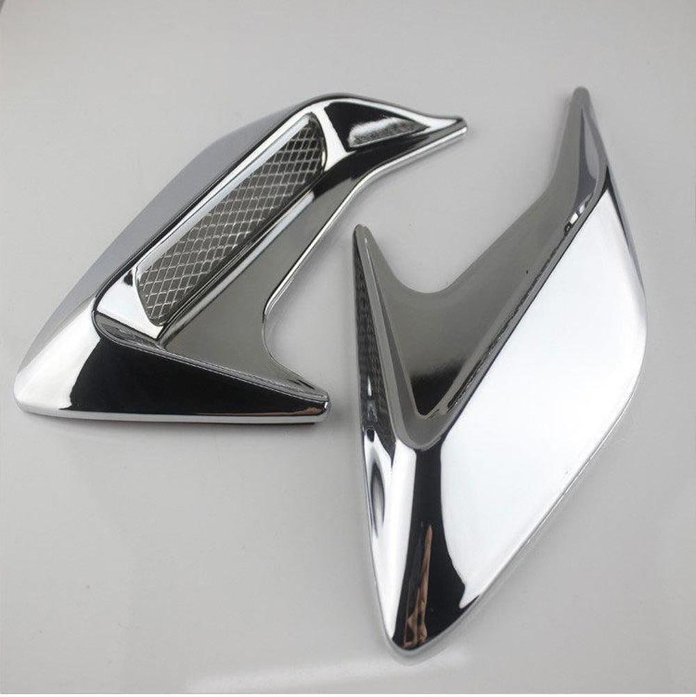 Pair DIY Car Auto Decorative Side Vent Air Flow Fender Intake Stickers Silver
