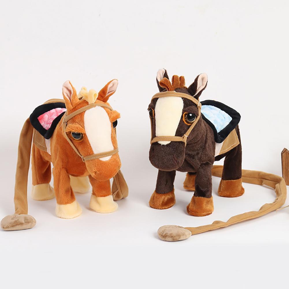 10inch Electric Plush Singing Walking Horse Ponyr Simulated Intelligent Kids Toy Children Birthday Gift New
