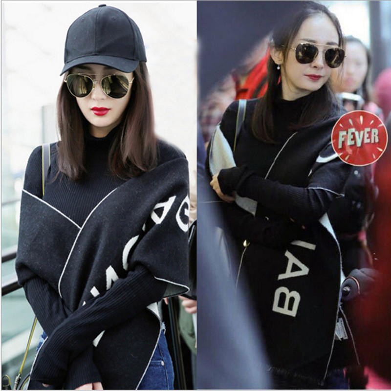 2018 Autumn and Winter Yangmi Airport Same Black Letter Scarf, Fashion Shawl, Dual purpose Cashmere Like Fringe Scarf on AliExpress