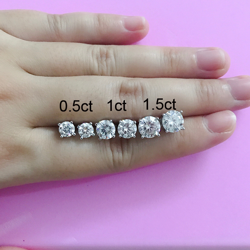 Clearance SaleBOEYCJR Fine-Jewelry Stud-Earring Moissanite Diamond Silver Women VVS Classic with Certificate