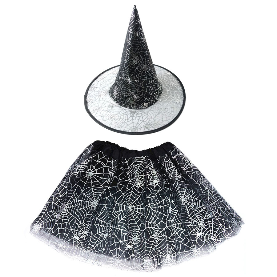 Kids Girl Spider Web Tutu Cobweb Skirt Witch Wizard Costume Hat Tulle Carnival Birthday Party Outfit Carnival Halloween Costume