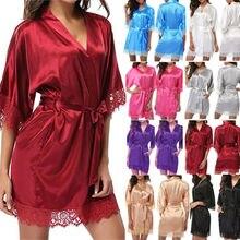 Sexy Womens Ladies Bride Robes Kimono Robe Satin Silk Lace N