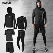 Men Sportswear Hooded Compression Sports Suit Man Jogging Running Training Fitness Gym Clothes Black Gray Green Sets 3XL